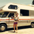Alexa Caskey and her dog, Beans, standing in front of the RV they travel the country in. Photo courtesy of Alexa Caskey