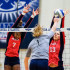 Senior middle blocker Brittney Brown and junior outside hitter Maja Ristic attempt to block UTEP outside hitter Coline Coessens during last Friday's match. Mohammed F Emran | Staff Photographer