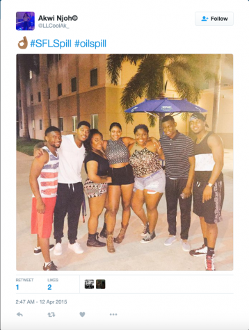 This public Tweet mentioning the South Florida Spill featured a photo on FAU's Boca campus in front of one of the school's umbrellas.