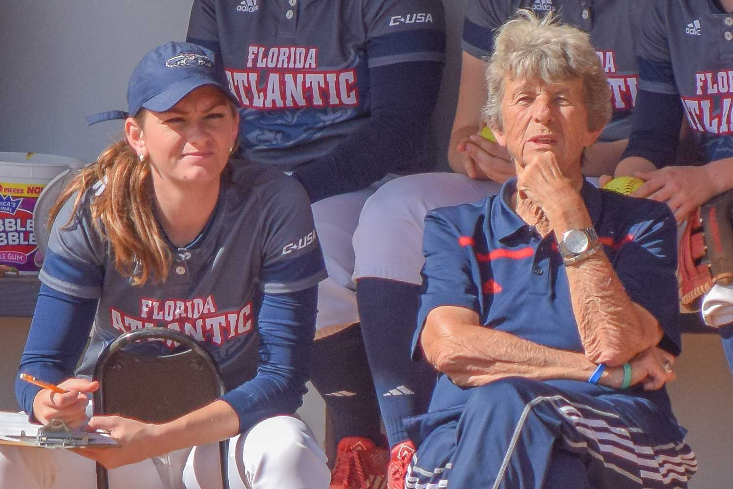 Kylee Hanson (left), Joan Joyce (right) and the FAU softball team are looking to win their second straight conference championship in 2017. Ryan Lynch | Editor in Chief