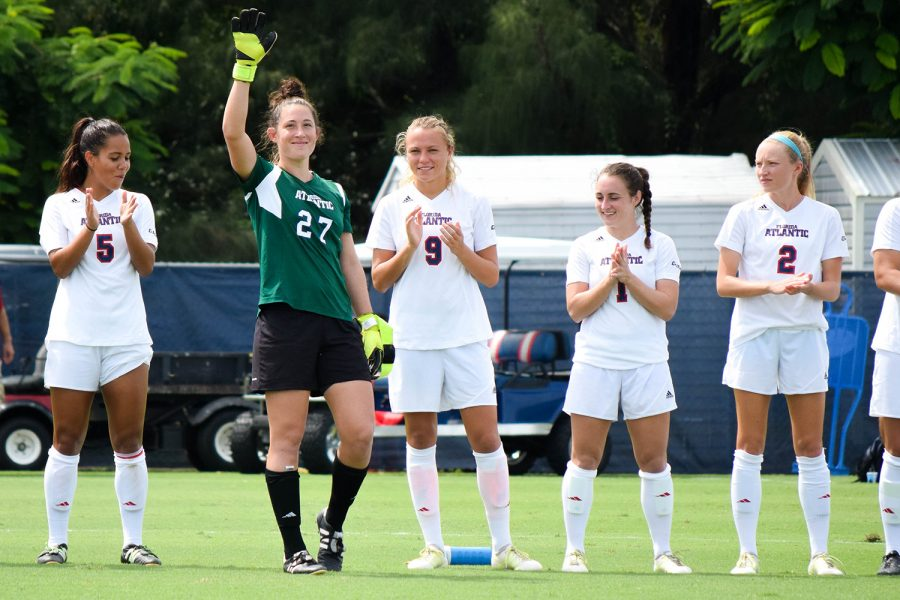 After leaving the University of South Florida without much playing time, Drinkwater has made a place for herself as the starting goalkeeper for the Owls. Ryan Lynch | Editor in Chief