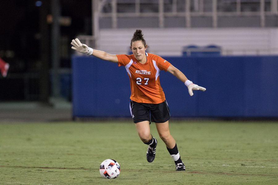 Drinkwater performs a goal kick during the Owls' 2-1 season opening win over Southern Utah at FAU Stadium. Brandon Harrington | Staff Photographer