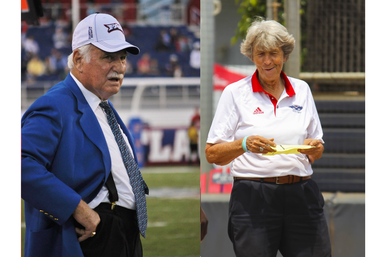 Coaches Howard Schnellenberger and Joan Joyce. Photos respectively by Michelle Friswell and Alexander Rodriguez | Contributing Photographer