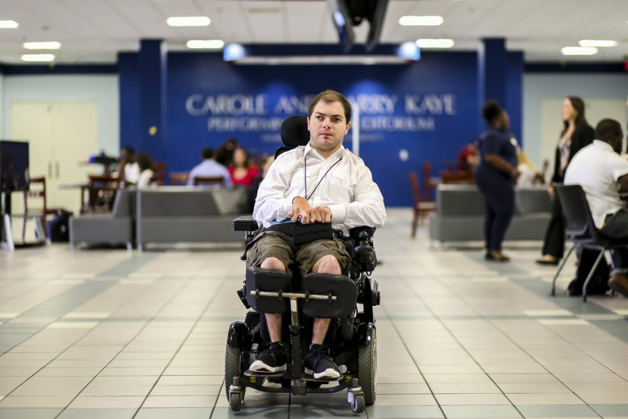 The+wheelchair+specialized+for+Garrett+Mayersohn+allows+him+to+have+access+to+the+Student+Union.+Alexander+Rodriguez+%7C+Contributing+Photographer