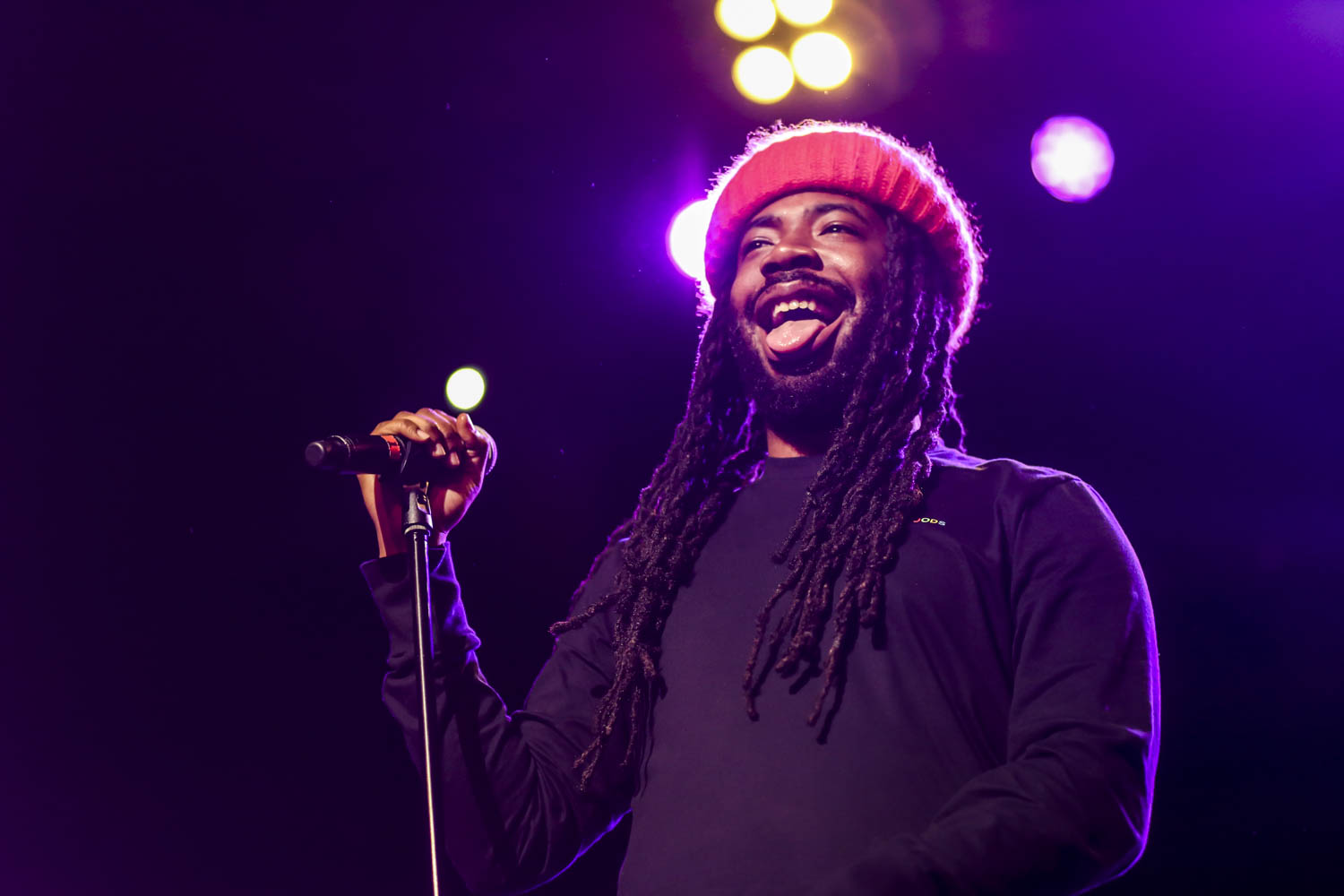 D.R.A.M sticks out his tongue with a smile at FAU's Fly On Fest. The concert was reported as sold out according to Program Board. Alexander Rodriguez | Contributing Photographer