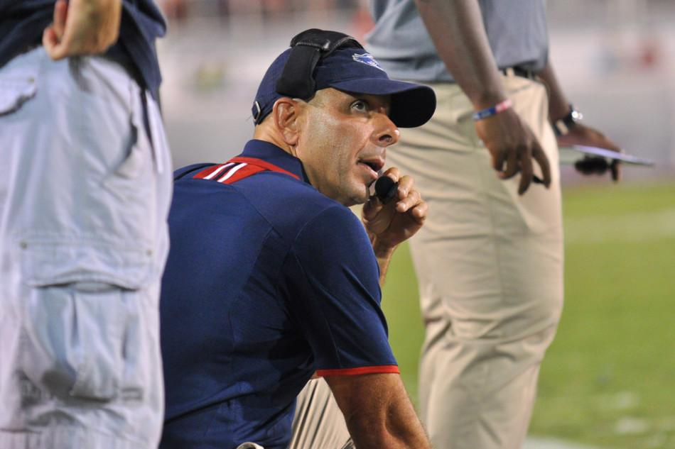 Carl Pelini went 5-15 in two incomplete seasons in Boca Raton. Photo by Michelle Friswell