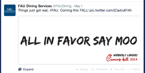 Screen shot of FAU Dining Services' post on Twitter announcing the addition of Chick-fil-A.