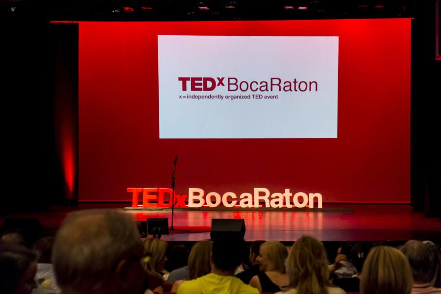 The stage at FAU Theater for TEDx Boca Raton. [ Mohammed F Emran | Contributing Photographer ]