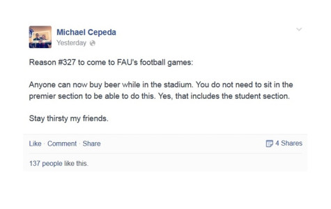 FAU students still thirsty. Student body president's Facebook claim ends up being not true — yet.
