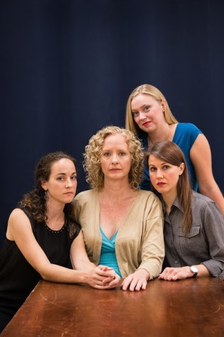 "(From left to right sitting) Connie Pezet as Ivy, Kim Ostrenko as Violet, Elizabeth Price as Barbara and Jenna Wyatt as Karen (standing) in ""August: Osage County."" Image courtesy of FAU Theater Department."