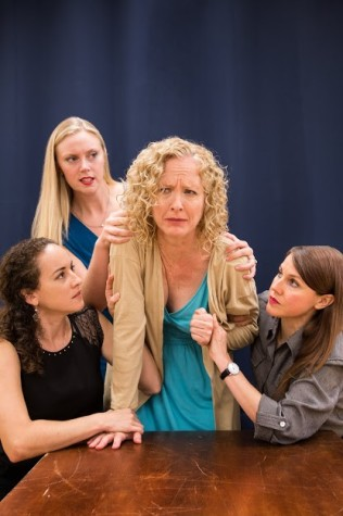 Daughters Karen (Wyatt), Ivy (Pezet) and Barbara (Price) hold back their emotional mother Violet (Ostrenko). Image courtesy of FAU Theater Department.