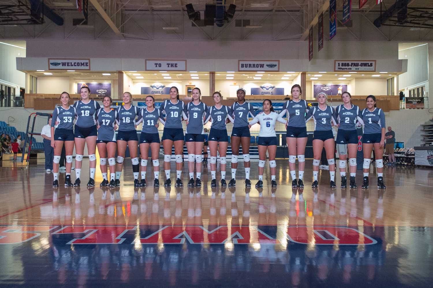 FAU Womens Volleyball team during their introduction video before their match against McNesse on Friday, August 29th. Max Jackson | Photo Editor