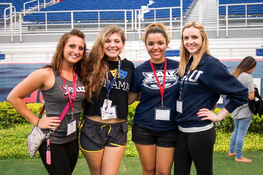 [7/31-8/1 Orientation] Janae Nebel, Elizabeth Shackelford, Andrea Bozkurt, and Shannon Braudis visiting the stadium during orientation [Sabrina Martinez|Photo Editor]