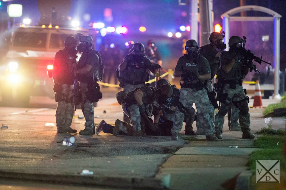 Big police presence in Ferguson, Missouri. [Abe Van Dyke | VDC Photo]