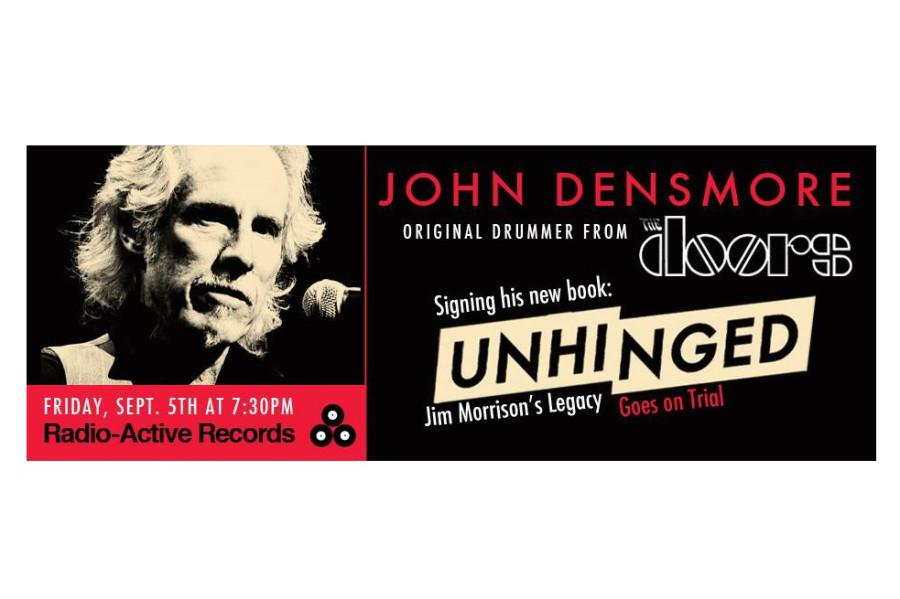 John Desmore, drummer for 60s rock band The Doors to do book signing at Radio-Active Records, Sept. 5.  Flier courtesy of Radio-Active Records