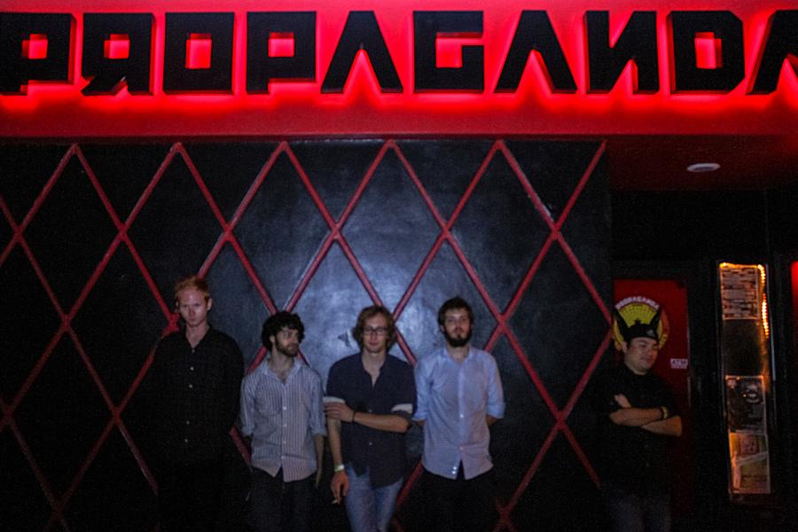 Fuzzhound poses for a band picture in front of Propaganda. [Alberto Santos | Multimedia Editor]