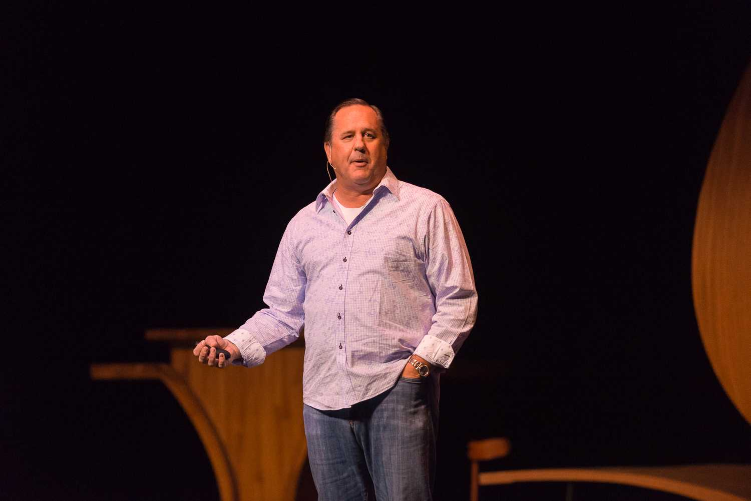 Keynote speaker Rick Barnes spoke about the different laws regarding hazing and his experience with Greek life. [Photo by Max Jackson | Photo Editor]