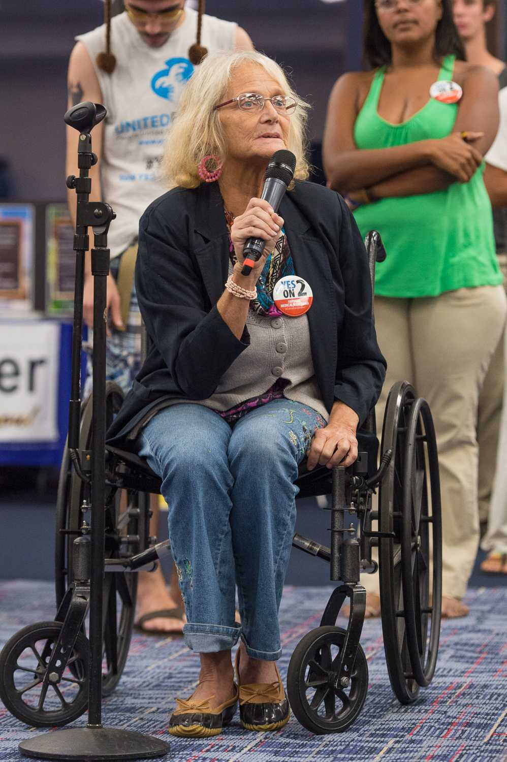 """Beth Ann Krug was diagnosed with Parkinson's disease in 2009, and has been an advocate for Parkinsons since then. She said that one of her concerns with Amendment 2 is how it would affect people who have already been incarcerated for the buying or selling of marijuana. """"There's been a time where I had to choose between going to the grocery store and picking up my medication -- one of which, over the counter, is $888 a month,"""" she said. Krug spoke of her time in Colorado this summer, stating, """"While I was there I tried it, it was called Trinity. It took away my tremors, and for a couple of hours I felt normal again."""""""