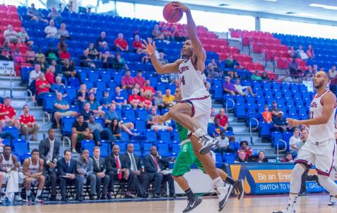 The only fourth-year senior on this year's team, forward Kelvin Penn scored eight points and grabbed four rebounds in the Owls' 53-42 win over Ave Maria on Nov. 30. Photo by Max Jackson