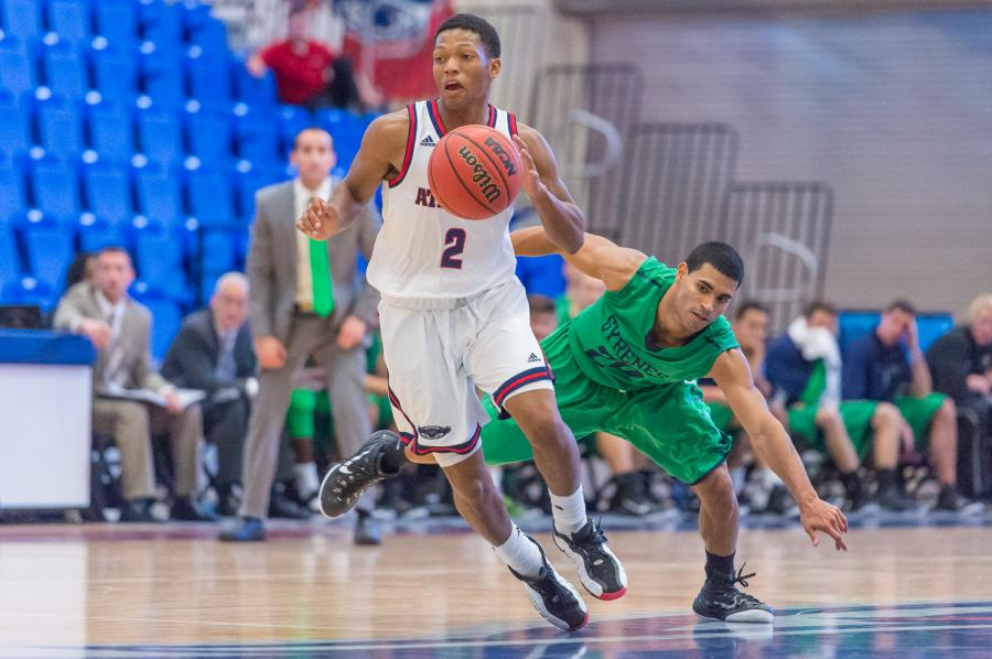 Marquan Botley (2) led FAU with twelve points in the 61-56 loss to St. Francis. Photo by Max Jackson
