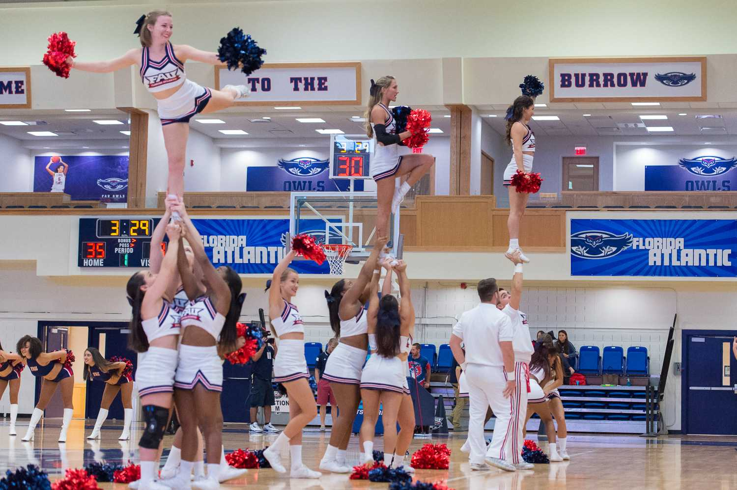 The FAU cheerleaders perform during a break in the first half.