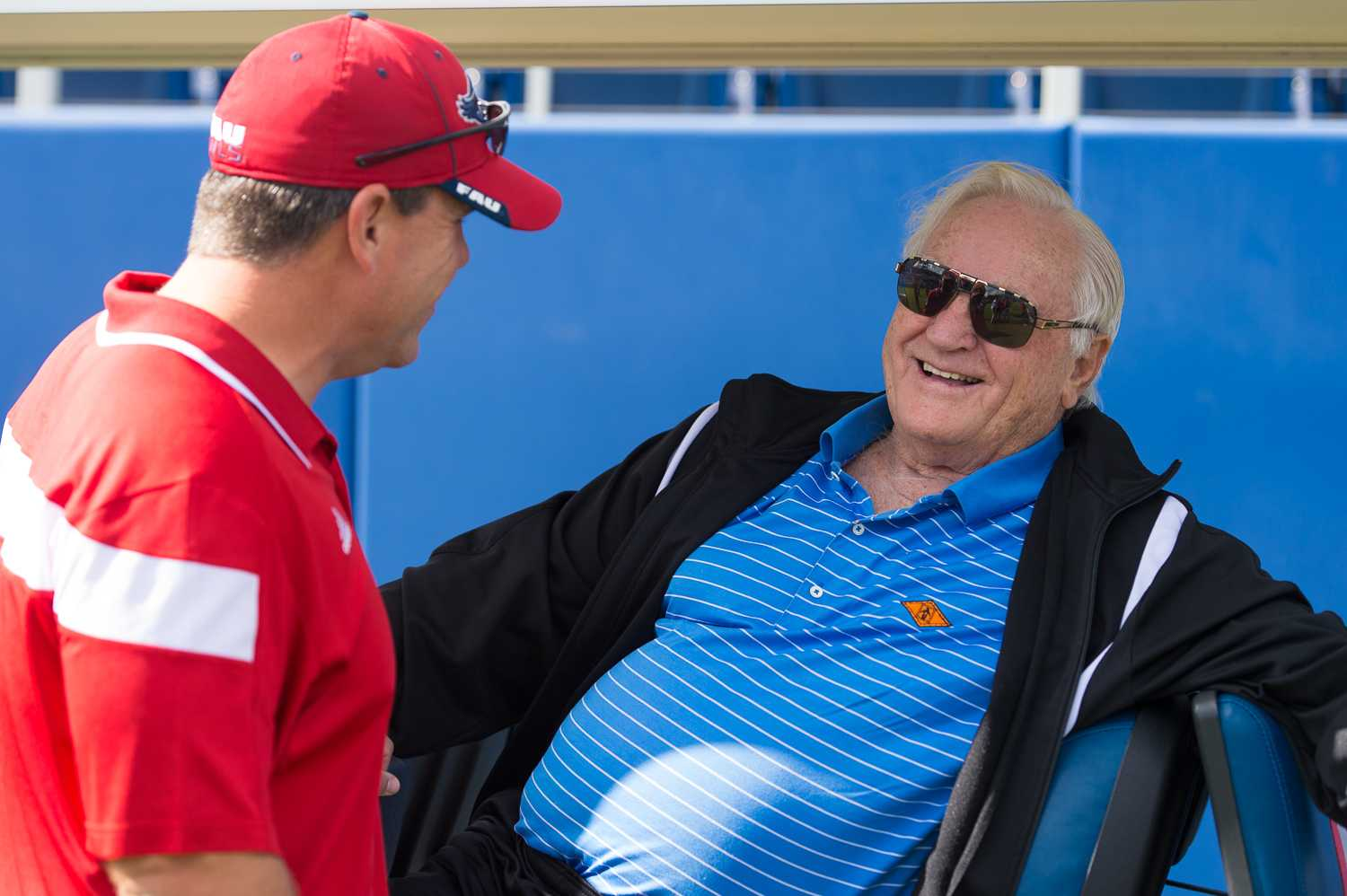 Pro Football Hall of Famer Don Shula and FAU head coach Charlie Partridge meet on the field before the game against Old Dominion.