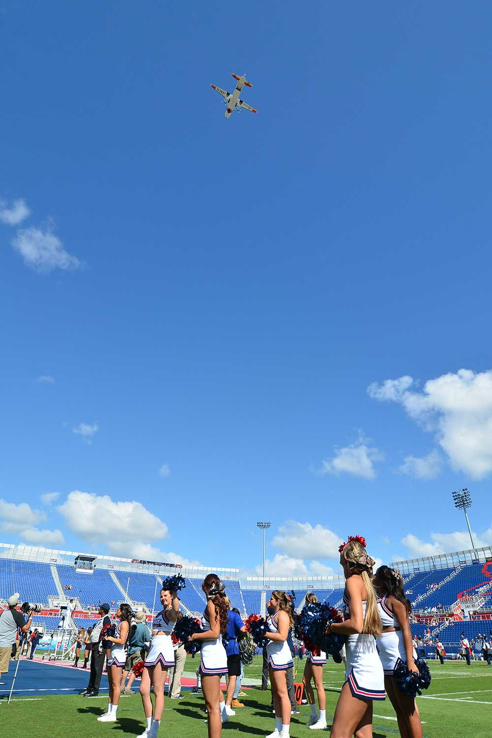 A United States Coast Guard HC-144A Ocean Sentry aircraft flies over FAU stadium before kickoff during Saturday's game. FAU deemed it Military Appreciation Day.