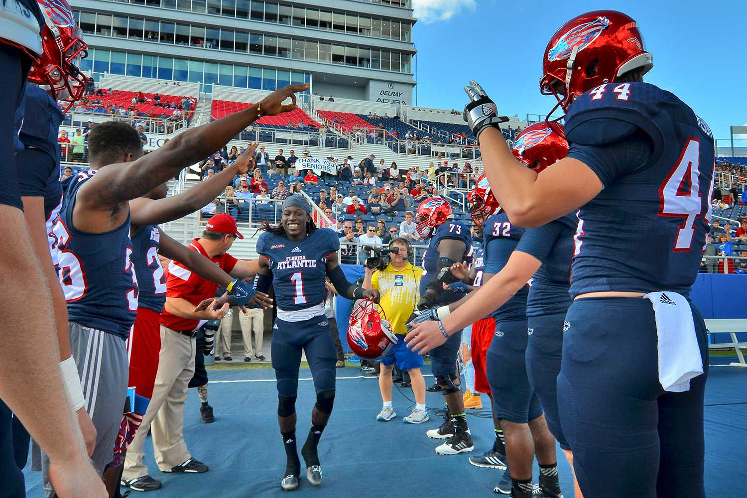 FAU senior wide receiver Lucky Whitehead takes the field for his final game as an Owl before Saturday's 31-28 loss to Old Dominion.