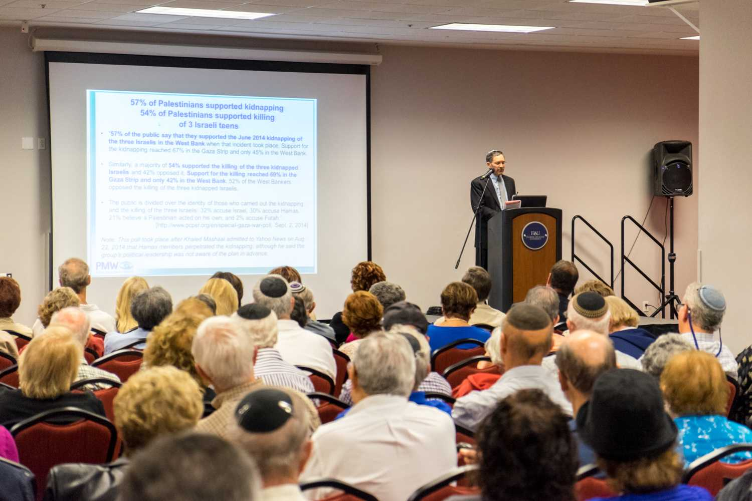 Many of the older folks showed up for Itamar Marcus lecture.  [ Mohammed F Emran | Web Editor ]