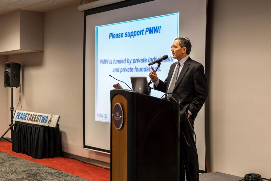 Itamar Marcus on the podium talking about the PMW (Palestinian Media Watch). [ Mohammed F Emran | Web Editor ]