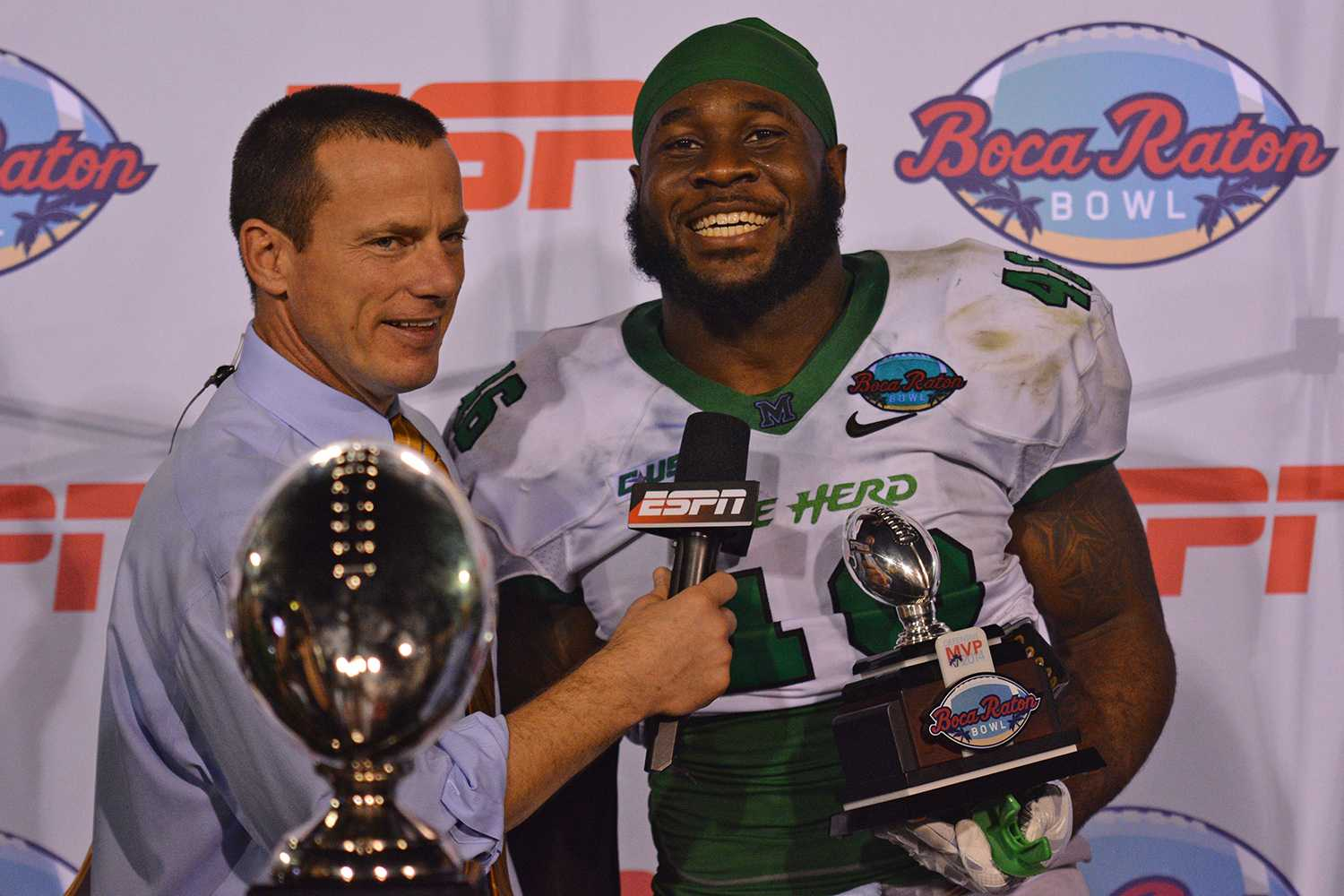 After totaling 1.5 sacks and eight tackles, Marshall linebacker Jermaine Holmes won the Boca Raton Bowl defensive MVP award. Holmes was selected to the Conference USA second team all-conference team.