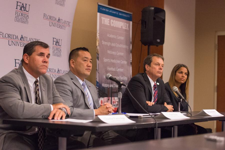 (Left to right) Charlie Partridge, Pat Chun,  John Kelly, and Kellie Lewis-Jay. Photo by Max Jackson