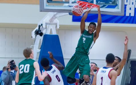 Stetson forward Kentwan Smith dunks in the first half. The forward scored a team-high 20 points on the night.
