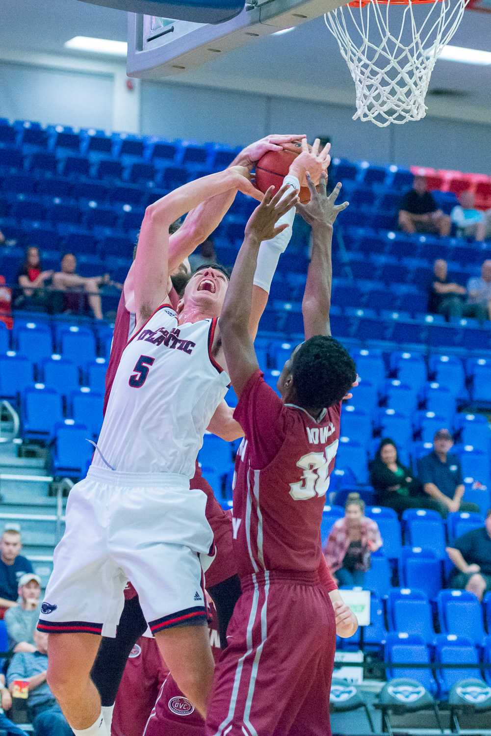 FAU forward Javier Lacunza (5) fights for a rebound with EKU guards Timmy Knipp (22) and Ja'Mill Powell (32).