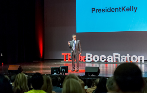 President John Kelly speaks to a crowd during a TED X event in on FAU's Boca Raton campus in May 2014. Photo by Mohammed F. Emran