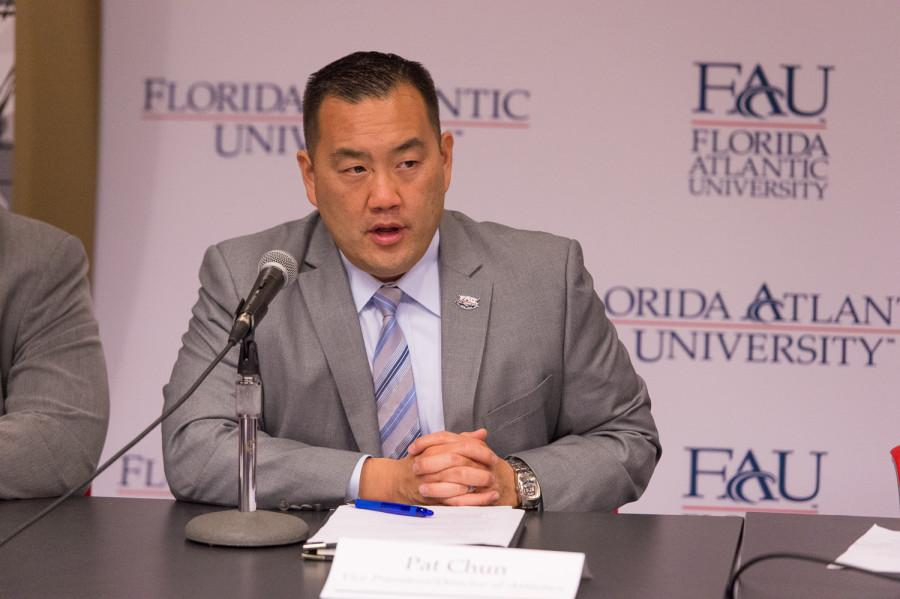 Athletic director Patrick Chun in a Dec. 9, 2014 press conference. Max Jackson | Staff Photographer