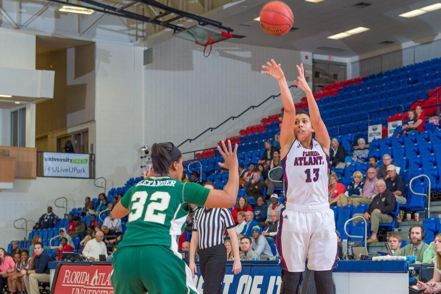 Owl forward Kat Wright (13) takes a jump shot in the first half of play against the Charlotte 49ers.