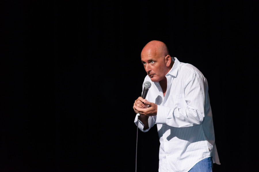 Headliner, Lenny Travis, making one of many goofy faces during his performance. Tim Murphy | Web Photo Editor