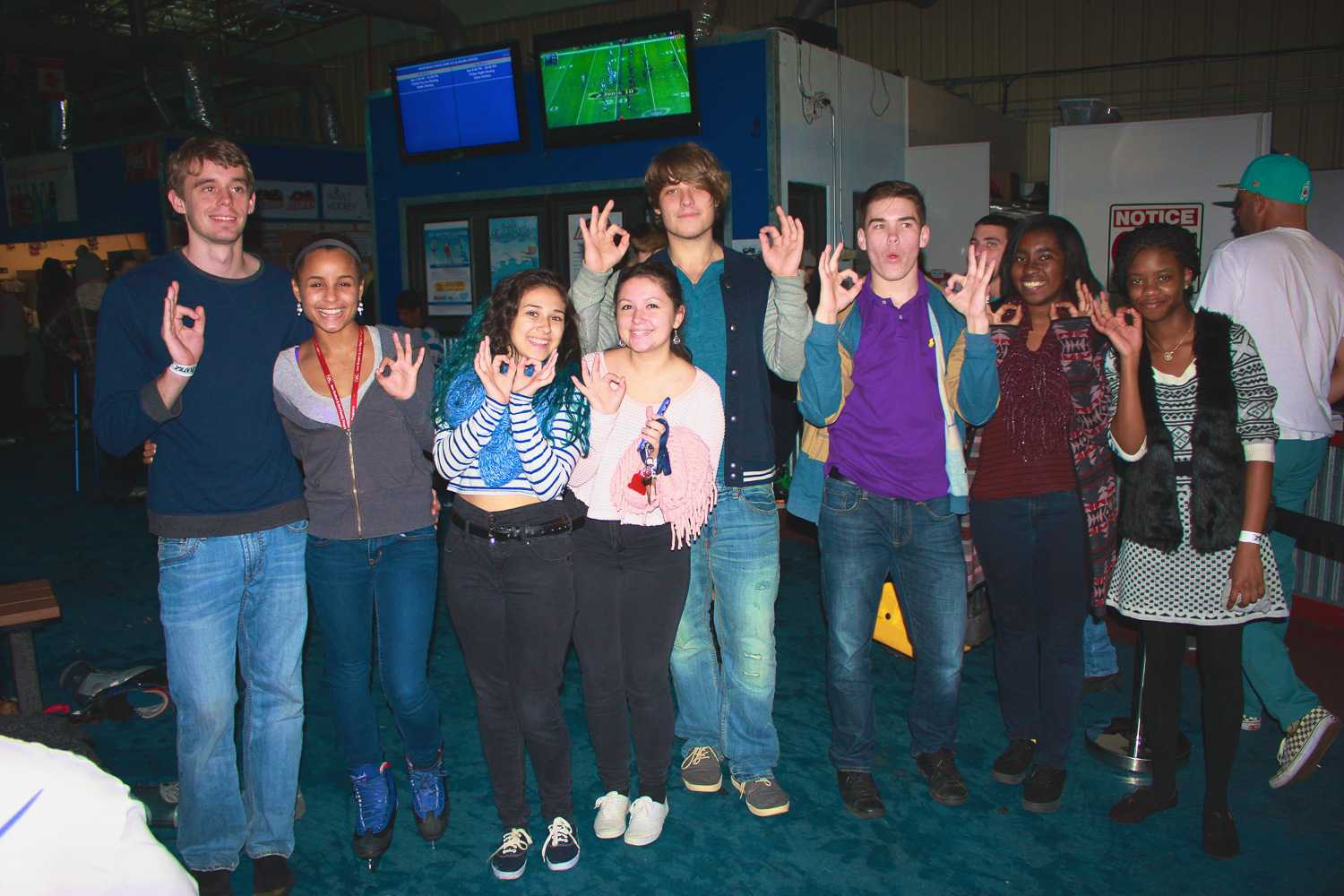 Students from FAU's Honors College in Jupiter pose for a photo at Palm Beach Skate Zone, during a Welcome Back Week event hosted by Campus Recreation.