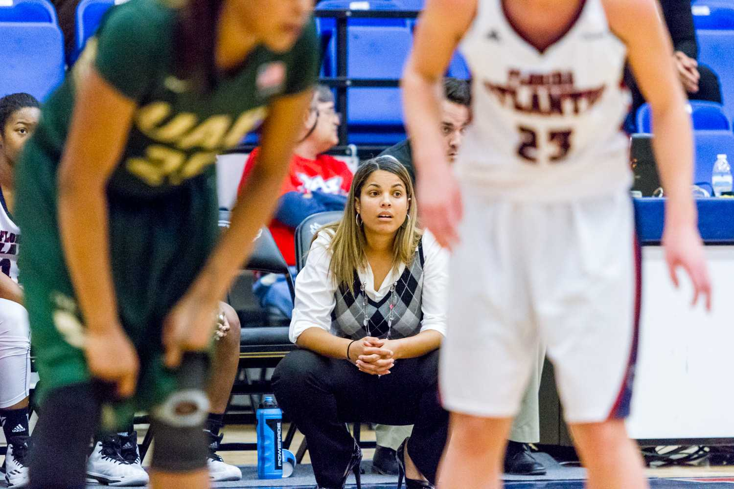 Head coach Kellie Lewis-Jay looks on. Her team is now 8-5 on the season and 2-0 in Conference USA.