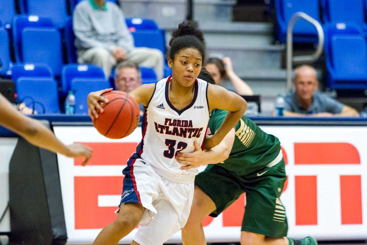 Freshman guard Malia Kency attempts to rid herself of a UAB defender.