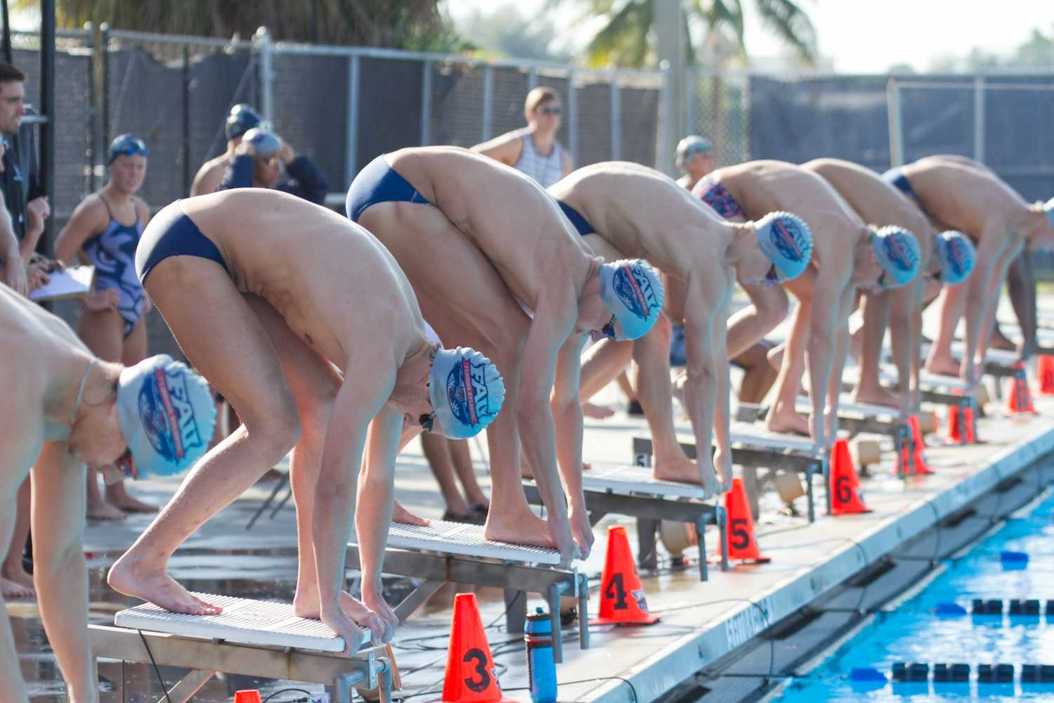 The FAU men's swim team prepares for the beginning of the 200-yard freestyle. The team lost 210-84 to Indian River State College in their final meet of the year on Jan. 31.