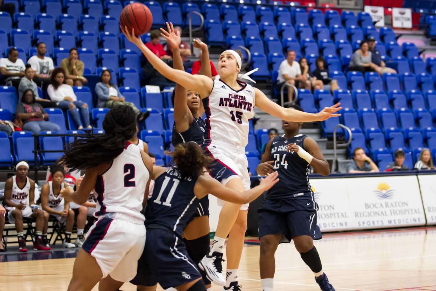 Cedeno attempts a shot in traffic. She was 1-of-9 in the Owls' loss to ODU on Jan. 31.