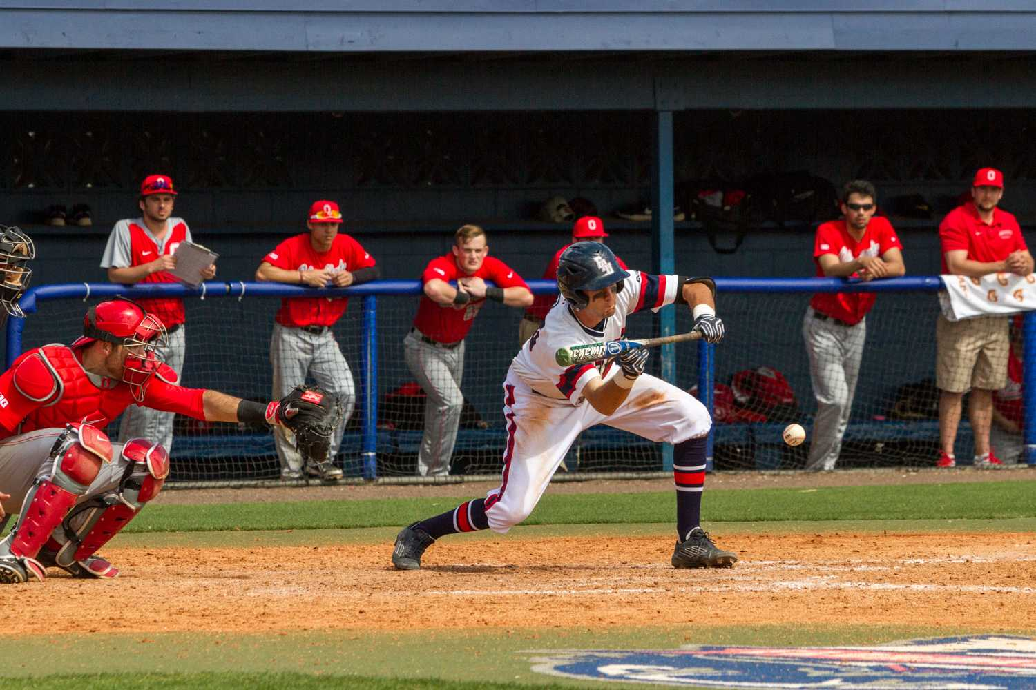 Sophomore CJ Chatham (10) squares to bunt. He had a hit in two at-bats.