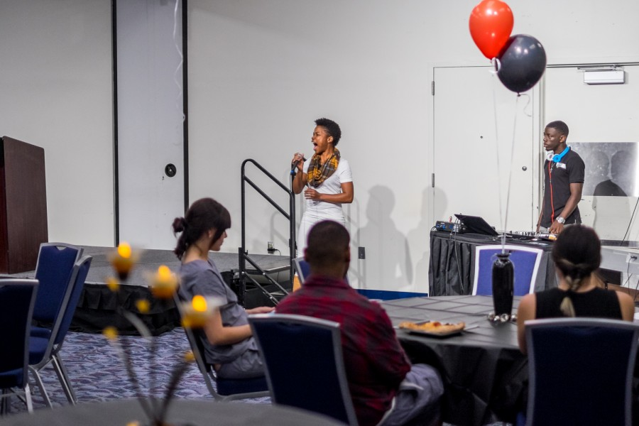Singer sings Take my Hand, Precious Lord by Mahalia Jackson during House of Black Culture organized by Multicultural Programming.