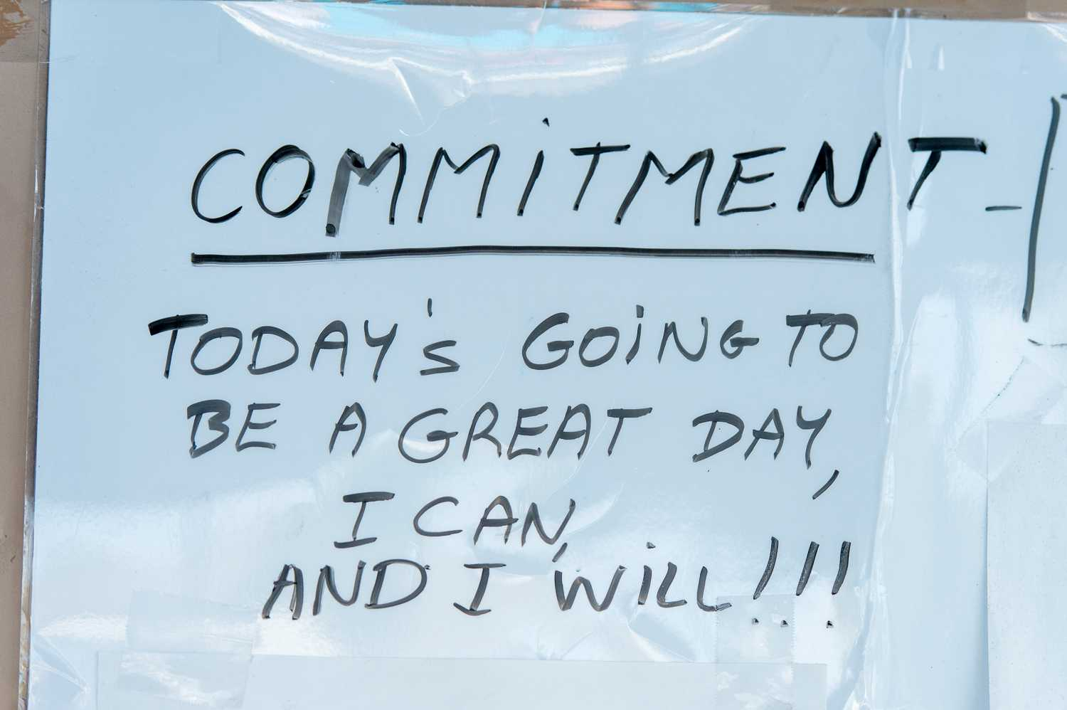A motivational sign that hangs on a door by the FAU pool on the day of the match.