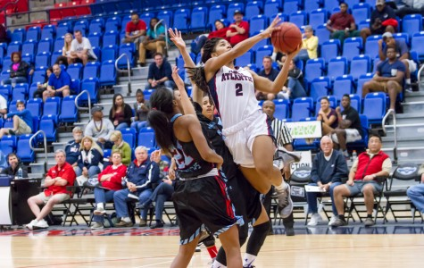 Shaneese Bailey (2) rises to take a shot in traffic. The sophomore out of Callahan, Fla. scored 24 points in the loss against La. Tech.