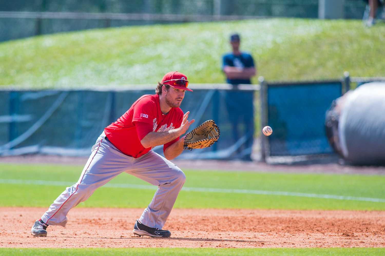 First baseman Zach Ratcliff (32) catches a ground ball.