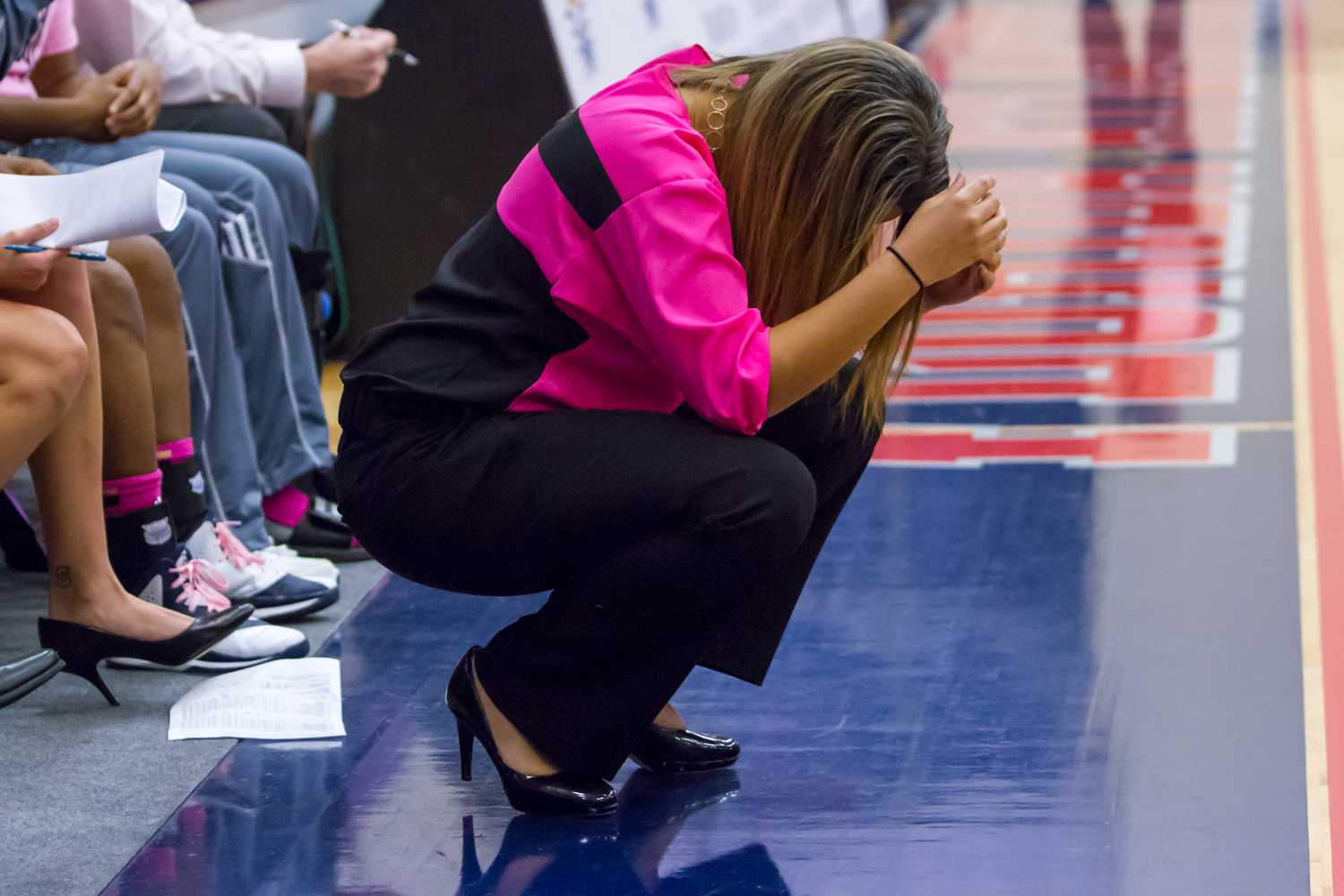 Head coach Kellie Lewis-Jay shows her disappointment after what she thought was a bad call.