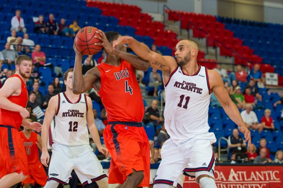 Center+Justin+Raffington+%2811%29+scored+a+team-leading+20+points+in+the+Owls%27+63-56+loss+to+UTEP+on+Feb.+5.+Photo+by+Max+Jackson+
